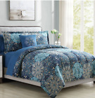 Twin or Full Size Comforter Set Bedding Blue Shades Sheets Medallion Pattern  image