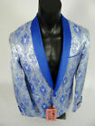 Mens INSOMNIA MANZINI Entertainer Event Jacket Blazer Silver with Blue Paisley's