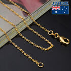 18k Yellow Gold Plated 1mm Link Necklace Chain Mens & Womens