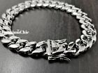 Men's Miami Cuban Link Chain Solid HEAVY Stainless Steel Bracelet 8MM to 16MM