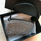 Real Leather Rhinestone Mesh Pouch Shoulder Bag Crossbody Handle Evening Purse