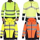 Hi Viz Vis Visibility Hooded Sweatshirt Jacket Reflect Work Zip Fleece Big Sizes
