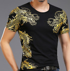 Men's Short Sleeve T-shirt Dragon Printed Chines Style O Neck Casual Tops JY02