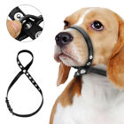 Leather Dog Muzzle Lead Collar with Adjustable Strap Anti Bark Bite for Pitbull