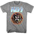 Kiss Rock & Roll Over Cartoon Band Men's T Shirt Circle Concert Tour Merch image