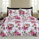 Cynthia - 3 Piece Quilt bedspread Set queen and king size Set - Fuschia image