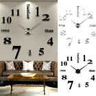 3D DIY Extra Large Wall Sticker Clock Luxury Mirror Numerals Home Decor P0T2A