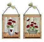 Bathroom Pictures Red Mums Flowers Tub & Coffee Mug Floral Wall Hangings Plaques