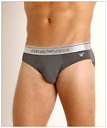 Emporio Armani SHINY LOGOBAND Stretch Cotton Brief, Anthracite or Marine Red, L