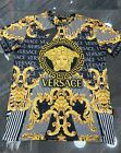 NEW WITH TAGS MEN'S GOLD MEDUSA BAROQUE MOTIF 2020 TOP FASHION BLACK T-SHIRT