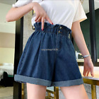 Women Denim Elastic Waist Wide Leg Cuffed Loose Jeans Shorts Plus Size Hot Pants