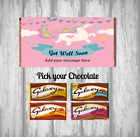 Personalised Chocolate Bar - Get Well Soon - Pink Unicorn Design - Gift Present