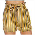 New Juniors Mustard Yellow Black White  Striped Paper Bag Challis Shorts S M L