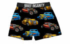 "Men's Fun Silk Pajama Boxer Shorts ""Classic Cars"" By Brief Insanity Unisex"