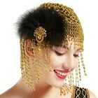 BABEYOND 1920s Beaded Cap Headpiece with Feather Clip for Gatsby Themed Party
