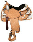 """Showman™ floral tooled show saddle with black inlay. 16"""""""