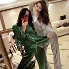 US Womens Silk Satin Nightwear Long Sleeve Pajamas Pijama Suit Sleepwear Sets