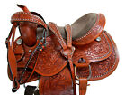 HORSE SADDLE 15 16 SEAT SIZE BROWN PADDED SEAT LEATHER CARVED TOOLED WESTERN