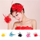 Ladies Long Feather Fascinator Bead Headpiece Hair Clip Bridal Lace Head Flower