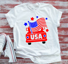 USA American Flag Truck 4th of July Men's & Women's White Short Sleeve T-shirt image