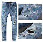New Italy Pop Style Knee Hollow Out Pants Skinny Fit Ripped Blue Men Jeans A635C