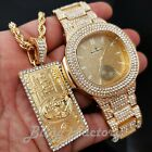 ICED HIP HOP GOLD PT BLING LUXURY METAL WATCH & $100 BILL MONEY NECKLACE SET  image