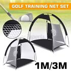 AU 1M 3M Golf Hitting Cage Practice Net Trainer Aid Driver Training Mat 2X Balls