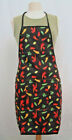 Nylon Water Resistant Apron - Chili Pepper Pattern w/ Front Patched Pocket