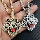 "Iced Unisex Hip Hop Lab Diamond Tiger Pendant & 24"" Rope Chain Bling Necklace"