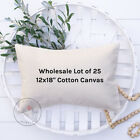 Wholesale Blank Pillow Cover | 12x18 10 oz Soft Cotton Canvas | Lot of 20 Blanks