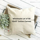 12x12 Wholesale Blank 10 oz. Cotton Canvas Throw Pillow Cover - Lot of 50 Blanks