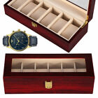 6 Grids Wooden Watch Display Box with Glass Top Jewelry Storage Organizer Case image