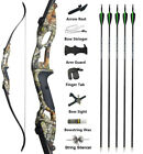 """56"""" Archery Recurve Bow Set Takedown Carbon Arrows Hunting Shooting 30-50lbs"""