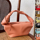 Soft Real Leather Small Mini Knotted Handle Pouch Tote Bag Hobo Purse Draped