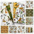 Funny Jungle Birds Tiger Sloth - Childrens COTTON Fabric Dressmaking Quilting