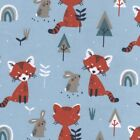 Padwan Red Panda - Main Pale Blue - Cotton Fabric Children Quilting Dressmaking