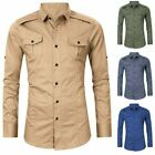 Men Military Army Shirt Tactical Long Sleeve Button Down Cotton Cargo Top Black