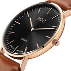MDC MENS GENTS QUARTZ WRIST WATCH ANALOG DRESS BROWN ULTRA THIN LEATHER GIFT