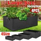 4x 2x Fabric Grow Pot Breathable Planter Bags Rectangle Plant Pots With Handles
