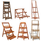 3-Tier Plant Display Stand Wood Ladder Shelf Bookshelf Storage Rack Holder Decor