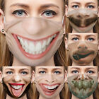 Hot 3d Printed Funny Face Mask Breathable Washable Mouth Protection Reusable Lot