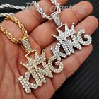 "Hip Hop Iced Crowned King Pendant & 4mm 24"" Rope Chain Fashion Bling Necklace"