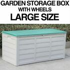PLASTIC GARDEN STORAGE BOX OUTDOOR WATERPROOF DECK CONTAINER CHEST SHED 290 L