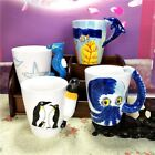 3D Marine Animals freehand Sketching Ceramic Coffee Mug Water Milk Cup art decor
