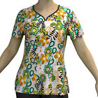 Digital Print Stretch Scrubs Top - Pandamed Curved Notch Neck Women Top PPS102