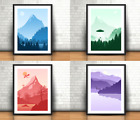 Mythical Creatures Set Of 4 Art Prints, Yeti, UFO, Dragon, Loch Ness Monster
