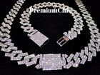 Kyпить Miami Cuban Link Chain Necklace Bracelet Diamond Prong Hip Hop Jewelry COMBO SET на еВаy.соm
