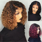 Short Curly Lace Front Hair Wig Ombre Brazilian Bob Water Wave Pre plucked