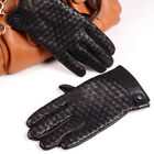 Men's High Quality Real Leather Winter Warm Woven Button Gloves Short Gloves