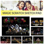Adult Kids Magic Scratch Sketch Pad Wooden Drawing Shiny Stick Art Paintin